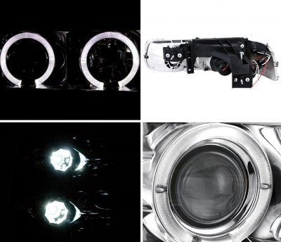 Chevy Silverado 1999-2002 Clear Halo Projector Headlights with LED