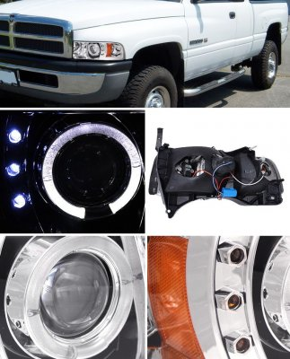 Dodge Ram 1994-2001 Clear Halo Projector Headlights with LED