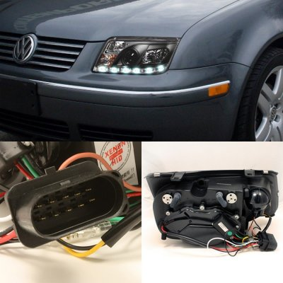 Vw Jetta 1999 2005 Black Halo Projector Headlights With Led Daytime Running Lights