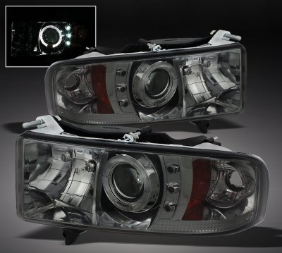 Dodge Ram 2500 Sport 1999 2002 Smoked Halo Projector Headlights With Led A1031iuu101 Topgearautosport