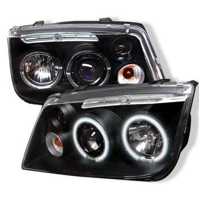VW Jetta 1999-2005 Black Dual CCFL Halo Projector Headlights