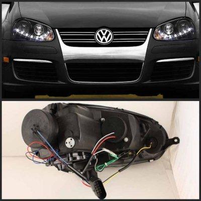 VW GTI 2006-2009 Black HID Projector Headlights LED DRL