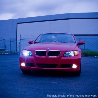 BMW 3 Series E90 Sedan 2006-2008 Smoked Halo Projector Headlights