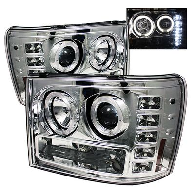 GMC Sierra 2007-2013 Clear Dual Halo Projector Headlights with LED