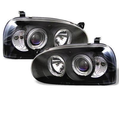 VW Golf 1993-1998 Black Halo Projector Headlights with Integrated LED