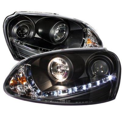 VW Rabbit 2006-2009 Black Projector Headlights with LED Daytime Running Lights