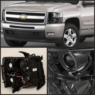 Chevy Silverado 2007 2017 Smoked Halo Projector Headlights With Led