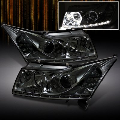 Chevy Cruze 2011 2012 Smoked Halo Projector Headlights