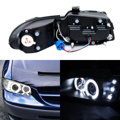 Dodge Caravan 1996-2000 Clear Dual Halo Projector Headlights with Integrated LED