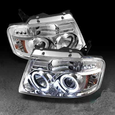 Ford F150 2004-2008 Clear Halo Projector Headlights with LED