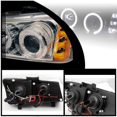 Chevy Silverado 2003-2006 Clear Dual Halo Projector Headlights with LED