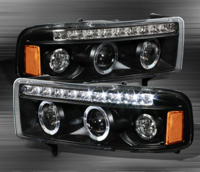 Dodge Ram 3500 1994 2001 Black Halo Projector Headlights With Led Drl A10302pi101 Topgearautosport