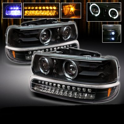 Chevy Silverado 1999 2002 Black Projector Headlights And Led Per Lights A103r0rh101 Topgearautosport