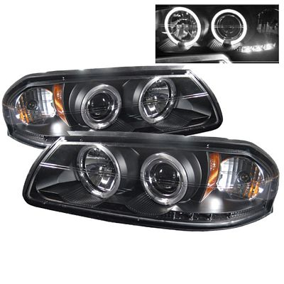 Chevy Impala 2000-2005 Black Dual Halo Projector Headlights with Integrated LED