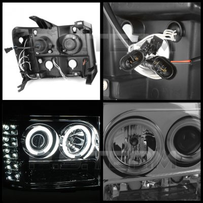 GMC Sierra 2007-2013 Smoked CCFL Halo Projector Headlights with LED