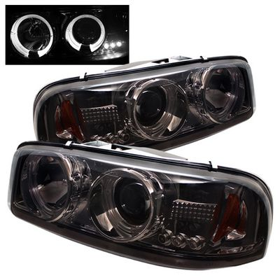 GMC Yukon 2000-2006 Smoked Dual Halo Projector Headlights with LED