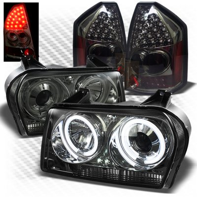 Chrysler 300 2005 2007 Smoked Ccfl Halo Headlights And Led Tail Lights A103z0tj101 Topgearautosport