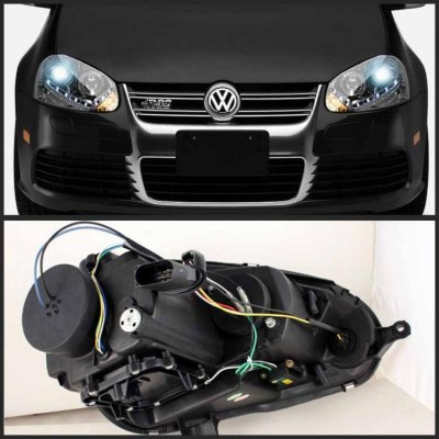 Vw Gti 2006 2009 Clear Hid Projector Headlights Led Drl