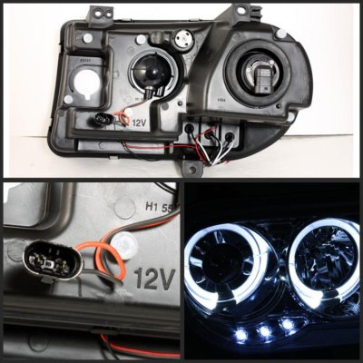 Chrysler 300C 2005-2010 Clear Dual Halo Projector Headlights with Integrated LED