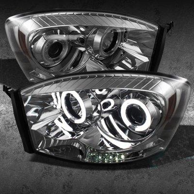 Dodge Ram 2006 2008 Smoked Ccfl Halo Projector Headlights With Led A10bu7101 Topgearautosport