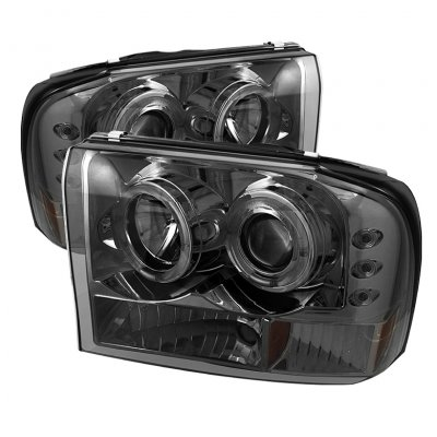 Ford F250 Super Duty 1999-2004 Smoked Dual Halo Projector Headlights