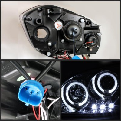 2008 Chevy Cobalt Clear Dual Halo Projector Headlights with LED