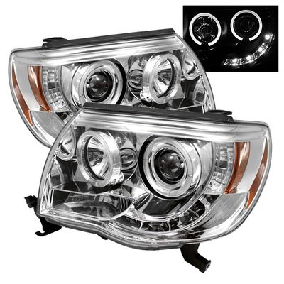 Toyota Tacoma 2005-2011 Clear Dual Halo Projector Headlights with LED