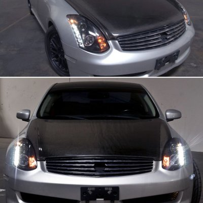 Infiniti G35 Coupe 2003-2007 Black CCFL Halo Projector Headlights with LED