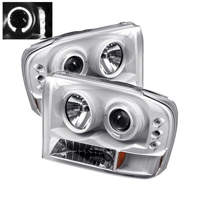 Ford F250 Super Duty 1999-2004 White Halo Projector Headlights with Integrated LED
