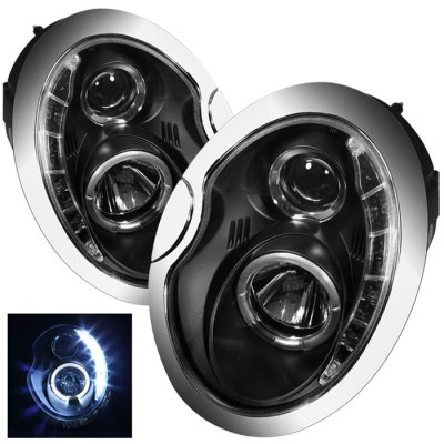 Mini Cooper 2002-2006 Black Halo Projector Headlights with LED Daytime Running Lights