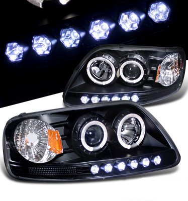 2002 Ford F150 Black Halo Projector Headlights with LED