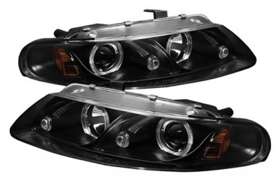 Dodge Avenger 1997-2000 Black Dual Halo Projector Headlights with Integrated LED