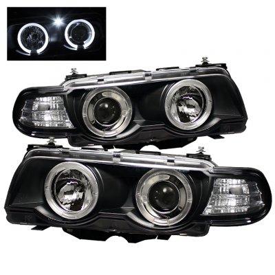 BMW 7 Series 1999-2001 Black Dual Halo Projector Headlights