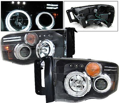 Dodge Ram 2002-2005 Black Dual CCFL Halo Projector Headlights