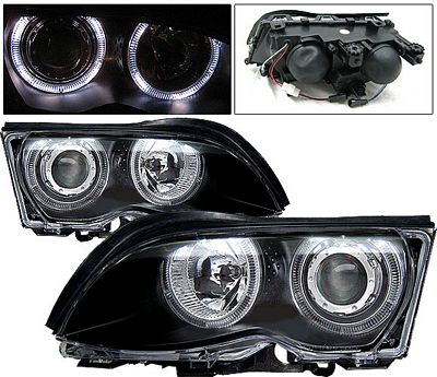BMW E46 Sedan 3 Series 1999-2001 Black Projector Headlights with Halo
