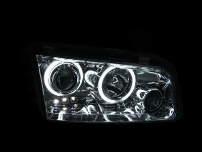 Dodge Charger 2006-2010 Black Projector Headlights with CCFL Halo
