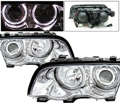 BMW E46 Sedan 3 Series 1999-2001 Clear Projector Headlights with Halo