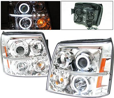 Cadillac Escalade 2002-2006 Clear Projector Headlights with CCFL Halo and LED
