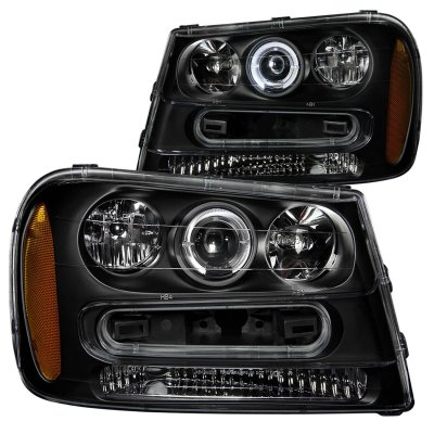 Chevy TrailBlazer 2002-2009 Black Projector Headlights with Halo