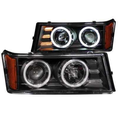 Chevy Colorado 2004-2013 Black Projector Headlights with CCFL Halo