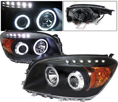 Toyota RAV4 2006-2008 Black Projector Headlights with CCFL Halo