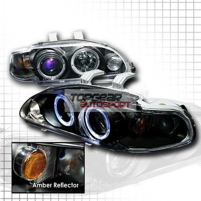 Honda Civic Sedan 1992-1995 Black Projector Headlights Halo