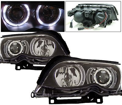 BMW E46 Sedan 3 Series 2002-2005 Black Projector Headlights with Halo