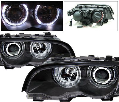 BMW E46 Coupe 3 Series 1999-2001 Black Projector Headlights with Halo