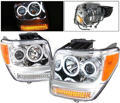 Dodge Nitro 2007-2011 Projector Headlights Chrome CCFL Halo LED