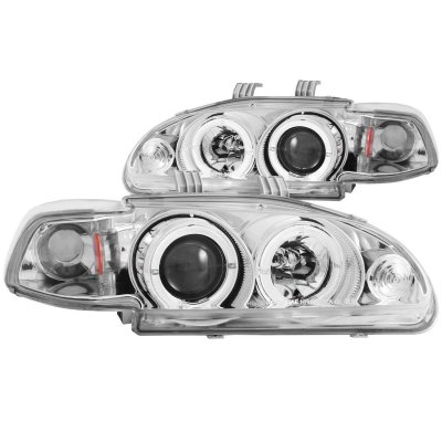 Honda Civic 1992-1995 Projector Headlights Chrome Halo LED