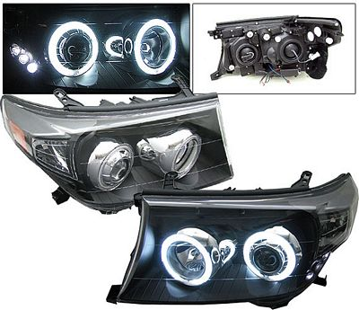 Toyota Land Cruiser 2008-2010 Black Projector Headlights CCFL Halo LED