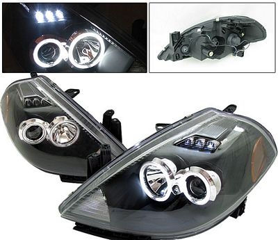Nissan Versa 2007-2009 Anzo Black Dual CCFL Halo Projector Headlights