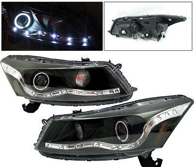 Honda Accord Sedan 2008-2010 Black Projector Headlights CCFL Halo LED