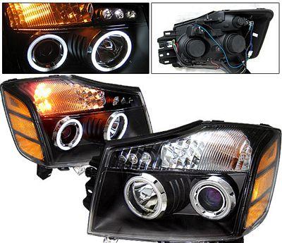 Nissan Titan 2004-2007 Black Projector Headlights CCFL Halo LED